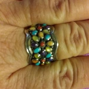New! Santa Fe floral multi turquoise ring. Size 11